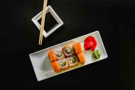 Sushi roll set on white background. Sushi Japanese food in restaurant. traditional menu. 스톡 콘텐츠