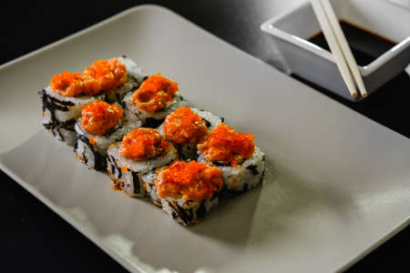 Sushi roll set on white background. Sushi Japanese food in restaurant. dinner salmon.
