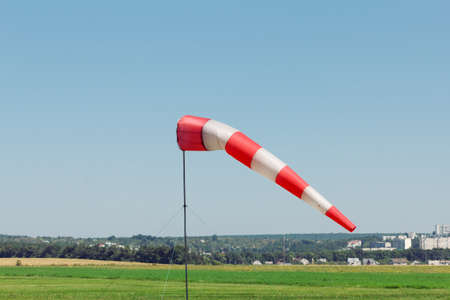 windsock wind aviation red cone airport outdoor, meteorology. 스톡 콘텐츠