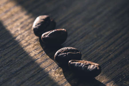Closeup of coffee beans with macro crop