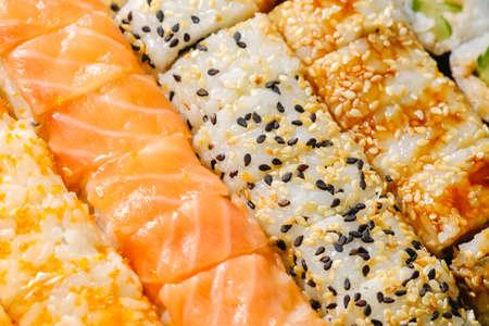 Sushi roll set on white background. Sushi Japanese food in restaurant. japan background.
