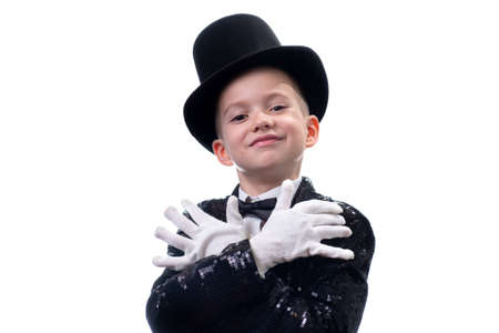 Magician kid illusionist boy in hat, magic show. childhood isolated white background