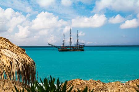 Ocean ship resort beach umbrella summer travel. vacation coast