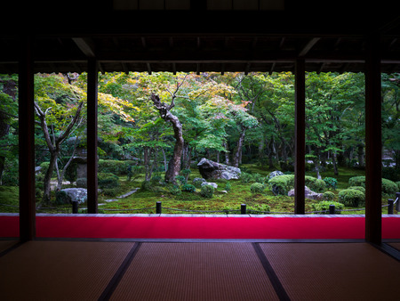 Japanese Room with Zen Garden View Stock Photo - 31366900
