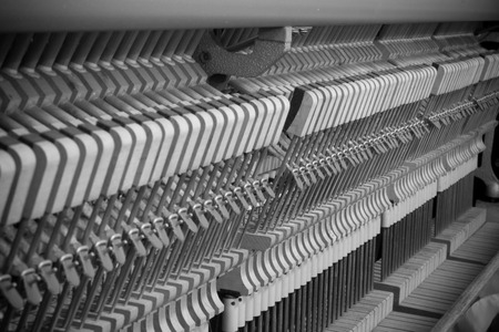 classical mechanics: inside the piano, parts and details Stock Photo