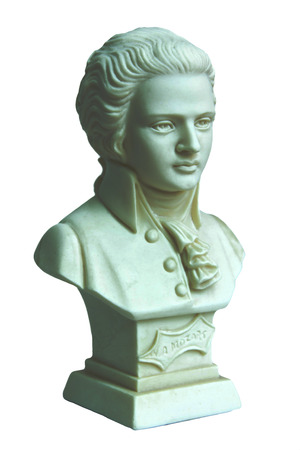 mozart: mozart sculpture isolated on white background
