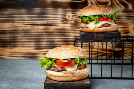 Two burgers with cheese and meat cutlet. High quality photo