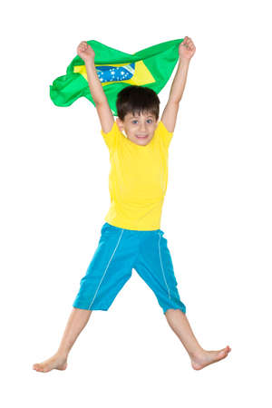 Brazilian Boy, jumping, Brazilian flag