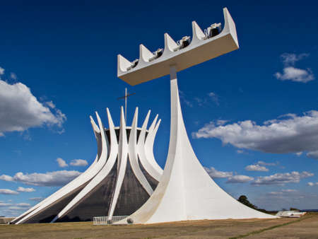 Cathedral Brasilia, on a blue sky   Oscar Niemeyer