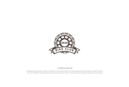 Retro Vintage Gear Cog Chain for Bike Sport Club Badge Emblem Logo Design Vector Logo