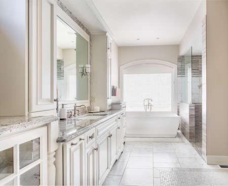 bañarse: Cuarto de baño en la casa de lujo, se centran en los gabinetes y lavabo con espejo. Bañera y ducha en el fondo Foto de archivo