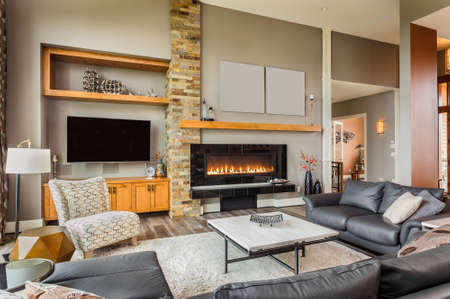 Furnished living Room in Luxury Home with Roaring Fireplace Stok Fotoğraf - 45168115