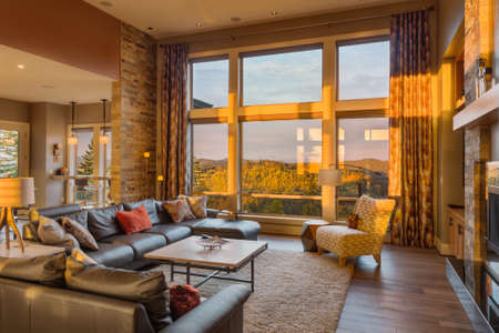 luxury hotel room: Beautiful living room with hardwood floors and amazing view