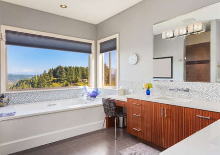Furnished bathroom in luxury home Stock Photo