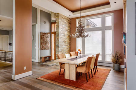light interior: Dining Room with Entryway, Table, Elegant Light Fixture