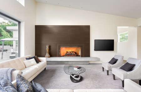 Schönes Wohnzimmer in Luxus-Haus mit Kamin, TV, Sofas und Blick auf Hinterhof Terrasse
