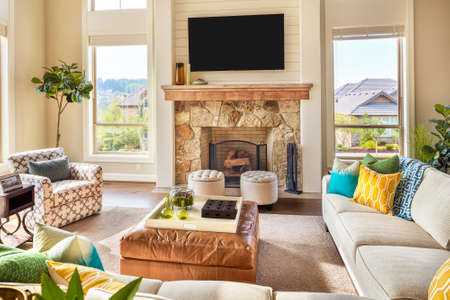 living: Furnished living Room in Luxury Home Stock Photo