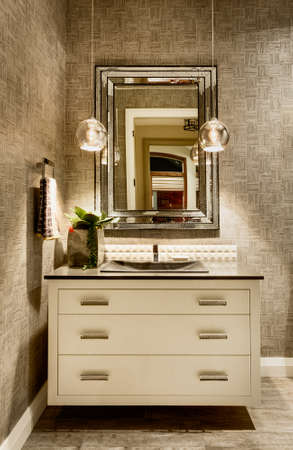 fancy: Vanity with Mirror in luxury home