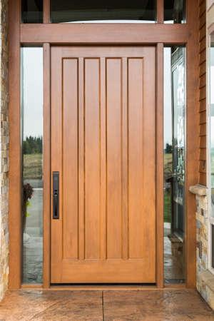 Elegant front door with welcome mat