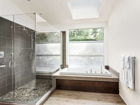 bathroom mirror: Bathroom interior in new luxury home: bathtub with walk in curbless tile shower, with all glass door and walls.