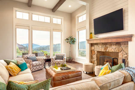 Beautiful living room with hardwood floors and view