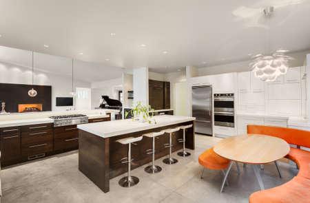 島、シンク、キャビネット、およびビューの新しい高級住宅のリビング ルームとキッチン