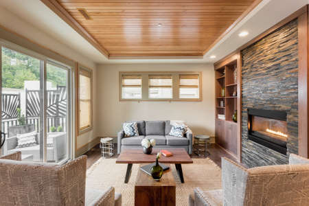 fireplace family: Beautiful living room with hardwood floors and amazing view