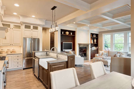 family in living room: kitchen, dining and living rooms in new luxury home