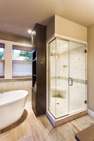 white bathroom: Bathtub and shower in new luxury home