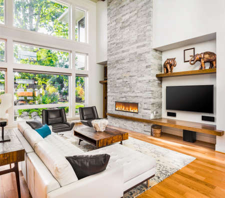 living room interior with hardwood floors and fireplace in new luxury home Banque d'images