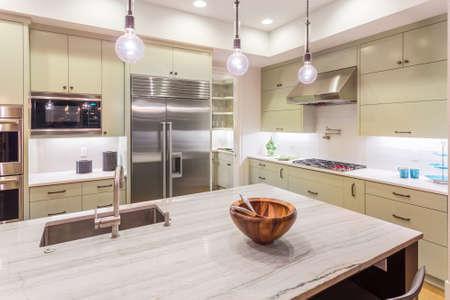 Kuchnia z wyspy, zlew, szafki, oraz parkiet w New Luxury Home