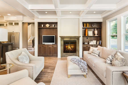 fireplace living room: living room interior with hardwood floors in new luxury home