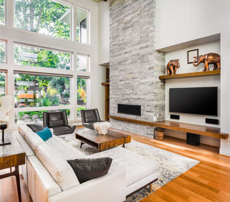 modern sofa: Beautiful living room with hardwood floors and fireplace in new luxury home