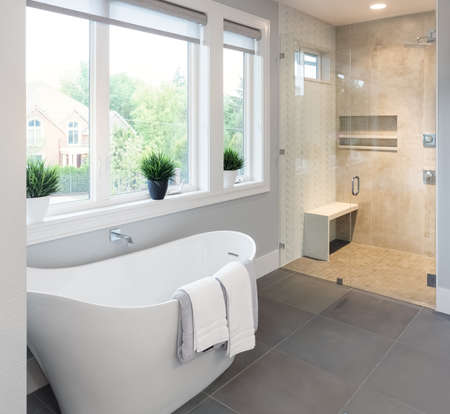 renovation property: Bathroom Interior:  bathtub and shower in new luxury home Stock Photo