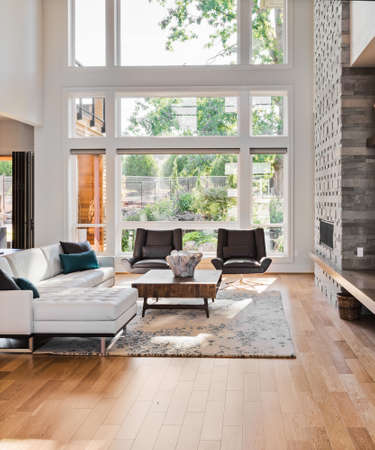 living room interior with hardwood floors and fireplace in new luxury home Standard-Bild