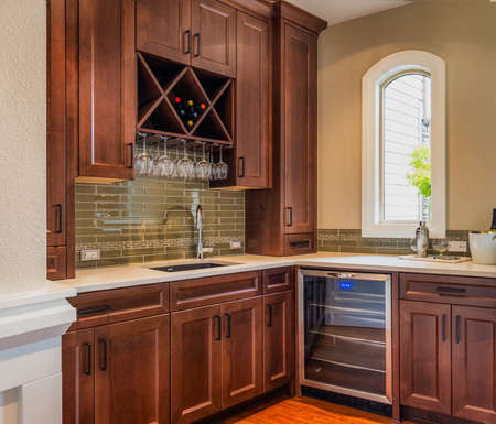 kitchen remodelling: Food Prep and Wine Storage Area in Luxury Home