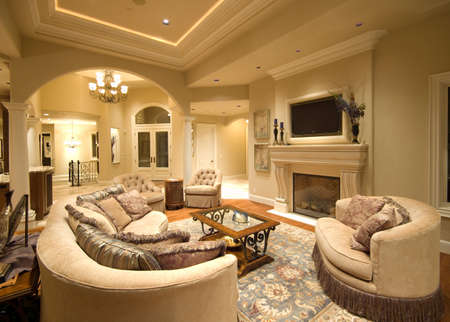 luxury hotel room: Beautiful Living Room Interior in Luxury Home with Fireplace and TV