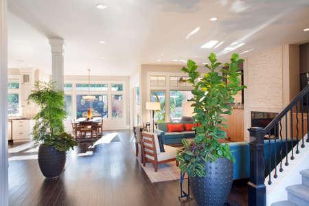 Große Wohnzimmer Interieur Mit Holzböden, Pflanzen, Speisezimmer ...