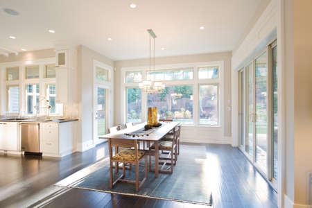 fixtures: Dining Room Interior with Hardwood Floors in New Luxury Home