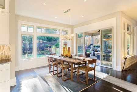 decorate: Dining Room Interior with Hardwood Floors in New Luxury Home
