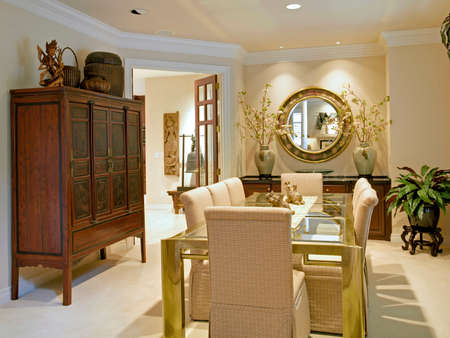 furnishings: Beautiful Dining Room Interior in Luxury Home Stock Photo