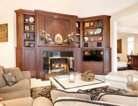 furnished: living room interior in new luxury home Stock Photo