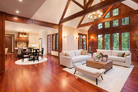 Schöne und große Wohnzimmer mit Parkettboden, hohe gewölbte Decke, Kamin und Couch im neuen Luxus-Haus. Hat Ansicht der Küche Standard-Bild
