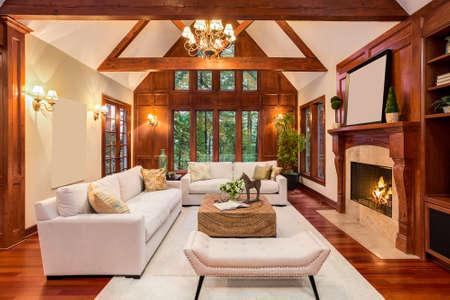 堅木張りの床と新しい高級住宅に暖炉のある美しいリビング ルーム インテリア。テレビとアーチ型の天井ビルトインが含まれています。
