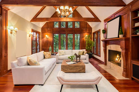Beautiful living room interior with hardwood floors and fireplace in new luxury home. Includes built-ins with television and vaulted ceilings.