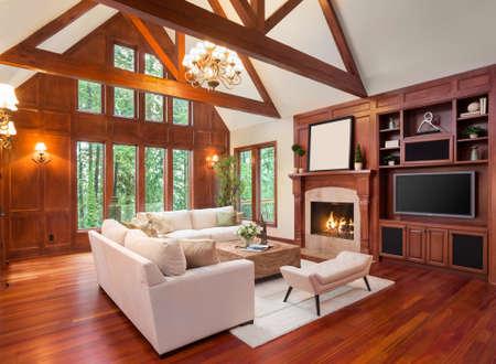 하드 우드 바닥과 벽난로가있는 새로운 고급 주택에서 아름다운 거실 인테리어. 텔레비전 및 아치형 천장과 함께 내장되어 있습니다.