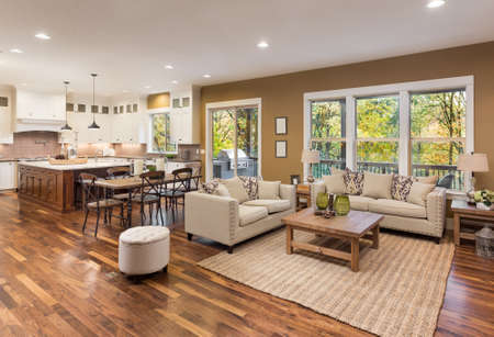 Beautiful living room interior with hardwood floors and view of kitchen in new luxury home