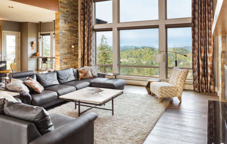 living room interior with hardwood floors and amazing view