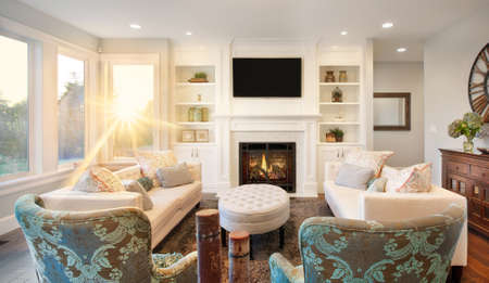 furnished living room interior in new luxury home, with bright blast of sunlight