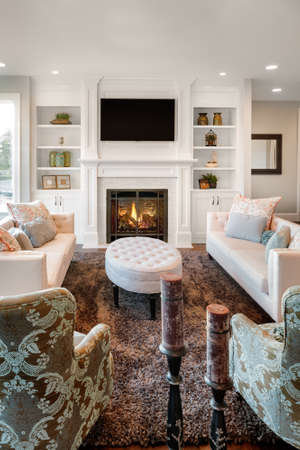 furnished: living room with hardwood floors in new luxury home, vertical orientation